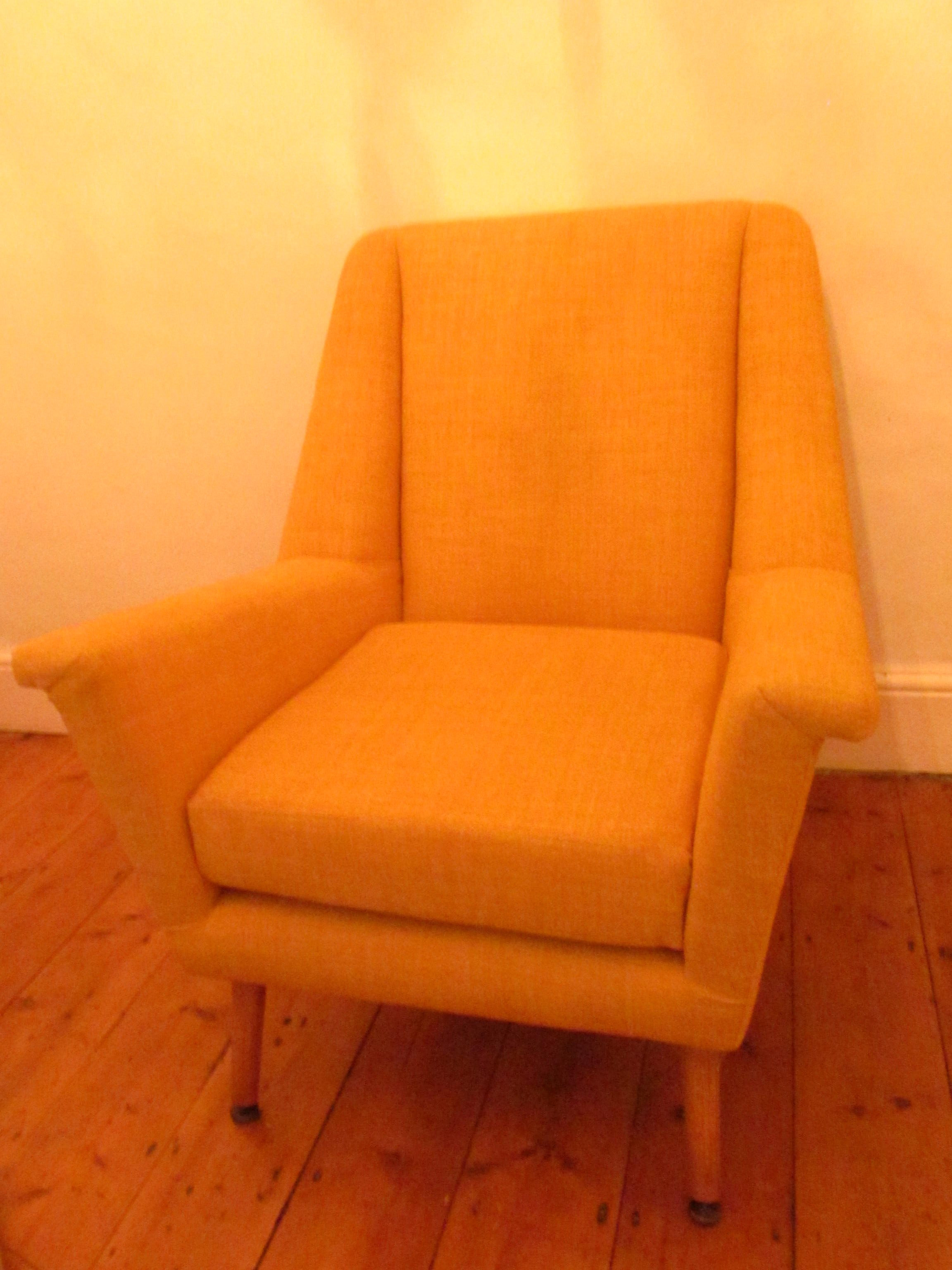 modern upholstered 60s easy chair